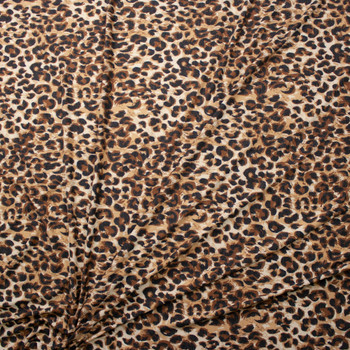 Tan and Brown Leopard Print Stretch Rayon Spandex Jersey Fabric By The Yard - Wide shot