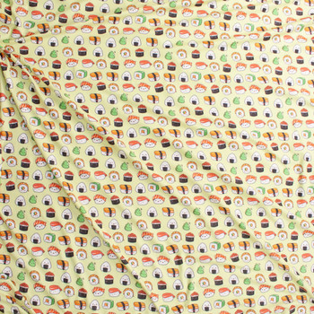 Smiling Sushi on Chartreuse Double Brushed Poly Spandex Knit Fabric By The Yard - Wide shot