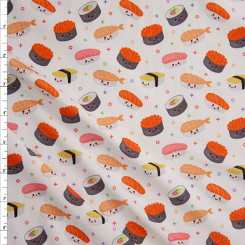 Smiling Sushi on White Double Brushed Poly Spandex Knit Fabric By The Yard