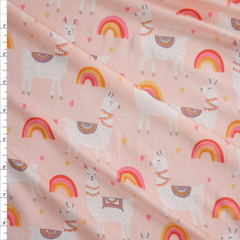 Lamas on Rainbows on Blush Double Brushed Poly Spandex Knit Fabric By The Yard