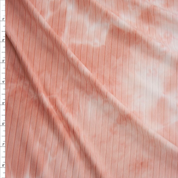 Pink and White tie Dye Brushed Wide Ribbed Knit Fabric By The Yard
