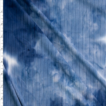 Blue and White tie Dye Brushed Wide Ribbed Knit Fabric By The Yard