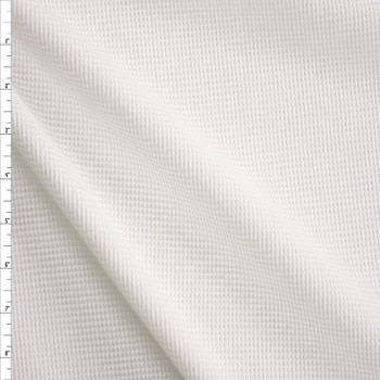 White Heavyweight Cotton Waffle Knit Fabric By The Yard
