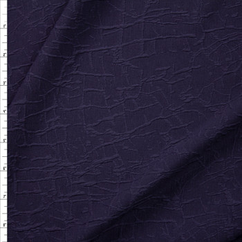Navy Cracked Texture Double Knit Fabric By The Yard