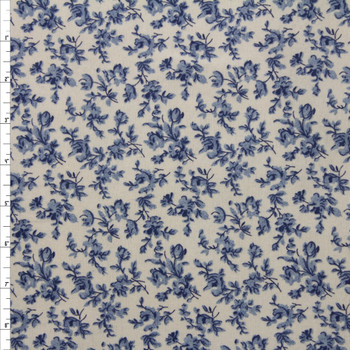 Blue Floral on Ivory Double Nap Cotton Flannel Fabric By The Yard