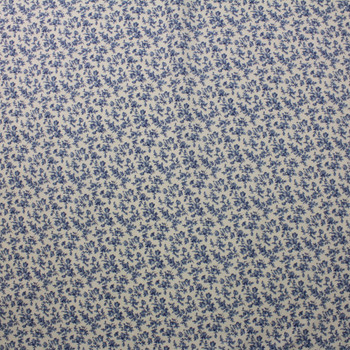 Blue Floral on Ivory Double Nap Cotton Flannel Fabric By The Yard - Wide shot
