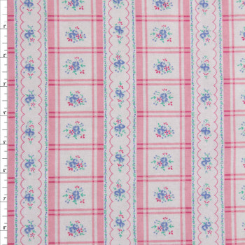 Pink and Blue Plaid Stripe on White Double Nap Cotton Flannel Fabric By The Yard