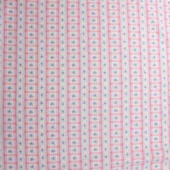 Pink and Blue Plaid Stripe on White Double Nap Cotton Flannel Fabric By The Yard - Wide shot