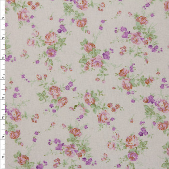 Pink and Lavender Floral on Ivory Double Nap Cotton Flannel Fabric By The Yard