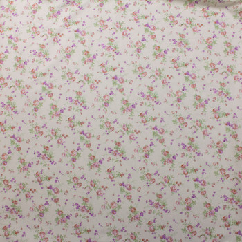 Pink and Lavender Floral on Ivory Double Nap Cotton Flannel Fabric By The Yard - Wide shot