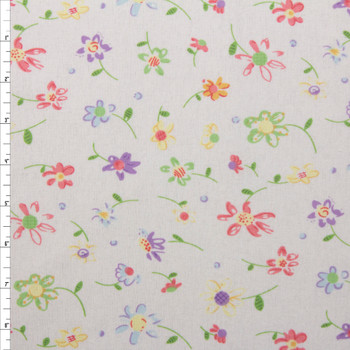 Colorful Whimsical Floral on Offwhite Double Nap Cotton Flannel Fabric By The Yard