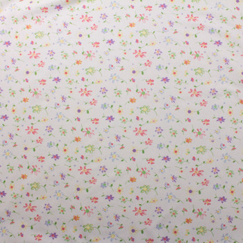 Colorful Whimsical Floral on Offwhite Double Nap Cotton Flannel Fabric By The Yard - Wide shot