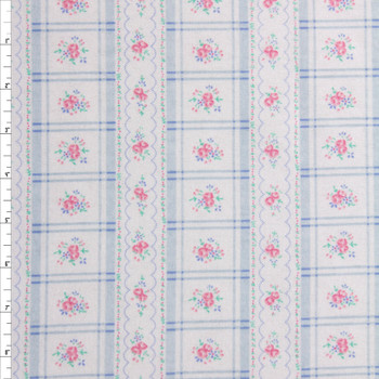 Blue and Pink Plaid Stripe on White Double Nap Cotton Flannel Fabric By The Yard