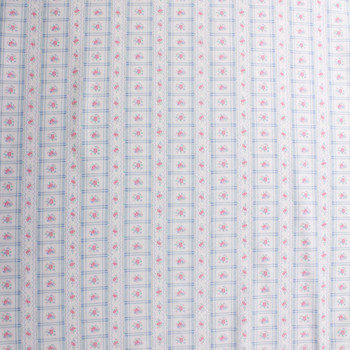 Blue and Pink Plaid Stripe on White Double Nap Cotton Flannel Fabric By The Yard - Wide shot