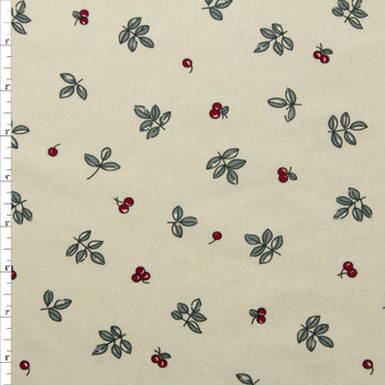 Leaves and Berries on Ivory Double Nap Cotton Flannel Fabric By The Yard