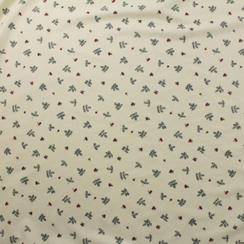 Leaves and Berries on Ivory Double Nap Cotton Flannel Fabric By The Yard - Wide shot