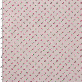 Pink on Pink Floral Double Nap Cotton Flannel Fabric By The Yard