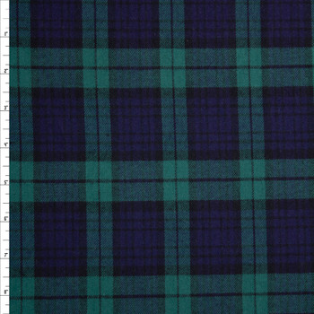 Forest and Navy Tartan Plaid Cotton Flannel Fabric By The Yard
