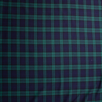 Forest and Navy Tartan Plaid Cotton Flannel Fabric By The Yard - Wide shot