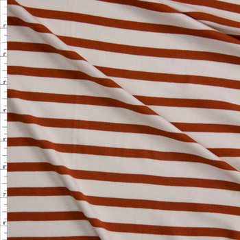 Rust and Ivory Pencil Stripe Stretch Modal Jersey Fabric By The Yard