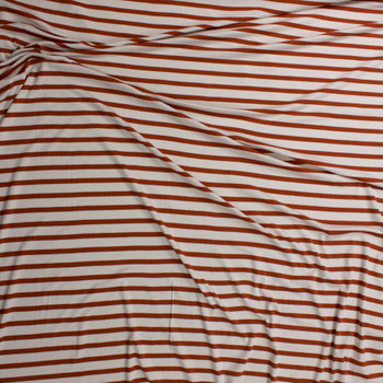 Rust and Ivory Pencil Stripe Stretch Modal Jersey Fabric By The Yard - Wide shot
