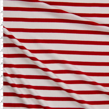 Red and Offwhite Pencil Stripe Stretch Modal Jersey Fabric By The Yard