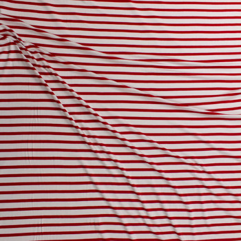 Red and Offwhite Pencil Stripe Stretch Modal Jersey Fabric By The Yard - Wide shot