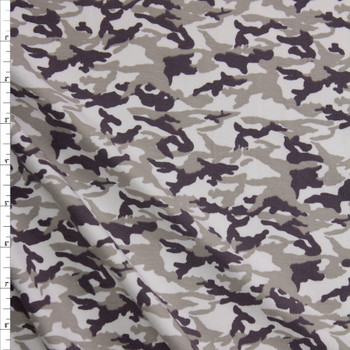 Khaki, Taupe, and White Camouflage Midweight Cotton/Spandex Jersey Fabric By The Yard