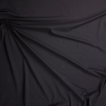 Black Midweight Cotton/Spandex Jersey Fabric By The Yard - Wide shot