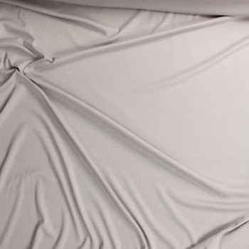 Light Grey Midweight Rayon Micro Rib Fabric By The Yard - Wide shot