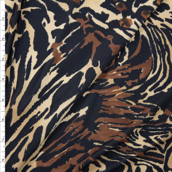Tan and Brown Mixed Animal Print Lightweight Stretch Poly Knit Fabric By The Yard