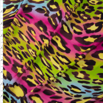 Lime, Light Blue, Pink, and Brown Abstract Leopard Lightweight Stretch Poly Knit Fabric By The Yard