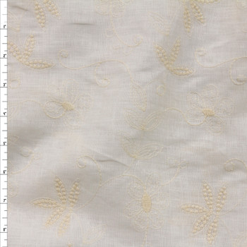 Ivory Embroidered Floral on Ivory Designer Linen Fabric By The Yard