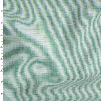 Seafoam and White Horizontal Stripe Lightweight Designer Linen Fabric By The Yard