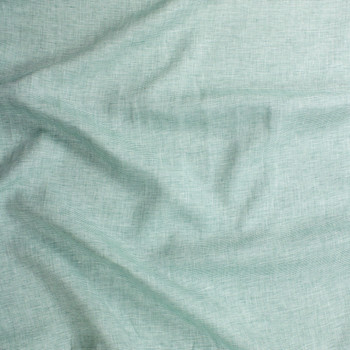 Seafoam and White Horizontal Stripe Lightweight Designer Linen Fabric By The Yard - Wide shot