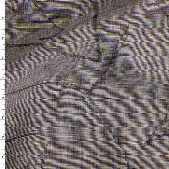 Grey Abstract Lines Designer Linen Fabric By The Yard