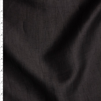 Black Crinkle Lightweight Designer Linen Blend Fabric By The Yard