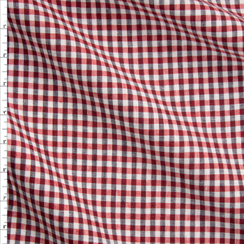 Black, Red, and White Gingham Plaid Designer Linen Fabric By The Yard