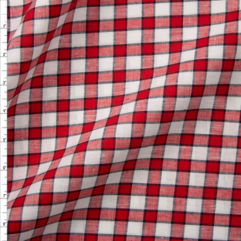 Red, White, and Navy Blue Plaid Designer Linen Fabric By The Yard