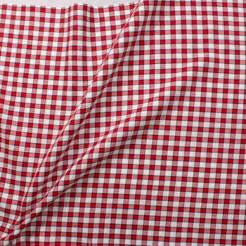 Red, White, and Navy Blue Plaid Designer Linen Fabric By The Yard - Wide shot
