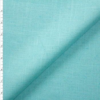 Bright Aqua Midweight Designer Linen Fabric By The Yard