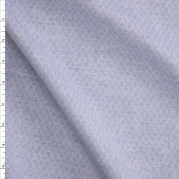 Light Blue Diamond Quilted Look Chambray Double Gauze Fabric By The Yard