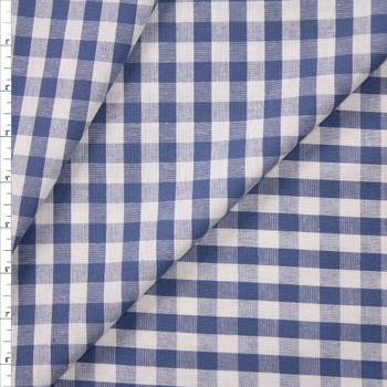 Slate Blue and White Gingham Cotton/Linen Blend Fabric By The Yard