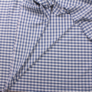 Slate Blue and White Gingham Cotton/Linen Blend Fabric By The Yard - Wide shot