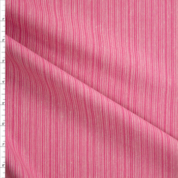 Pink on Pink Barcode Stripe Rayon/Linen Blend Fabric By The Yard