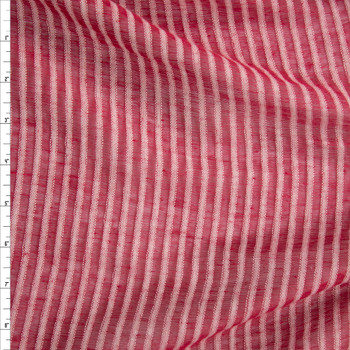 Red and White Sheer Stripe Cotton/Linen Blend Fabric By The Yard