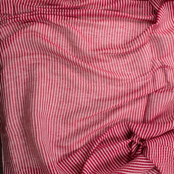 Red and White Sheer Stripe Cotton/Linen Blend Fabric By The Yard - Wide shot
