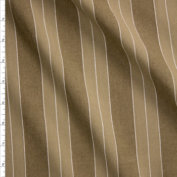 Khaki and White Stripe Cotton/Linen Blend Fabric By The Yard