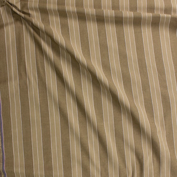 Khaki and White Stripe Cotton/Linen Blend Fabric By The Yard - Wide shot