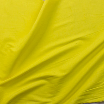 Bright Canary Yellow Drapey Rayon/Linen Blend Fabric By The Yard - Wide shot
